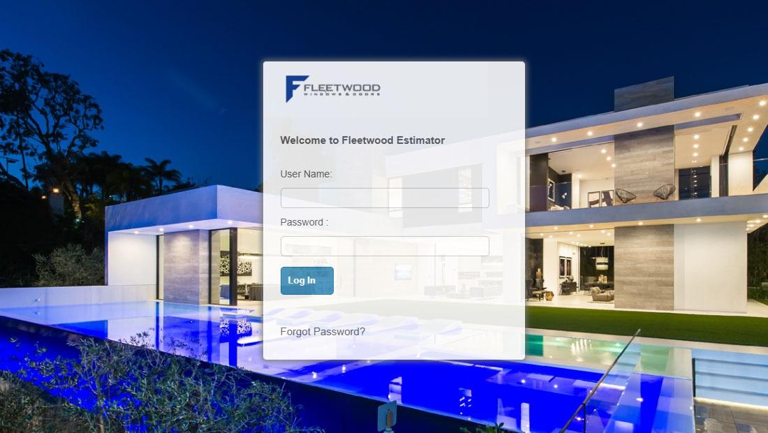 Screenshot of web-based quoting software